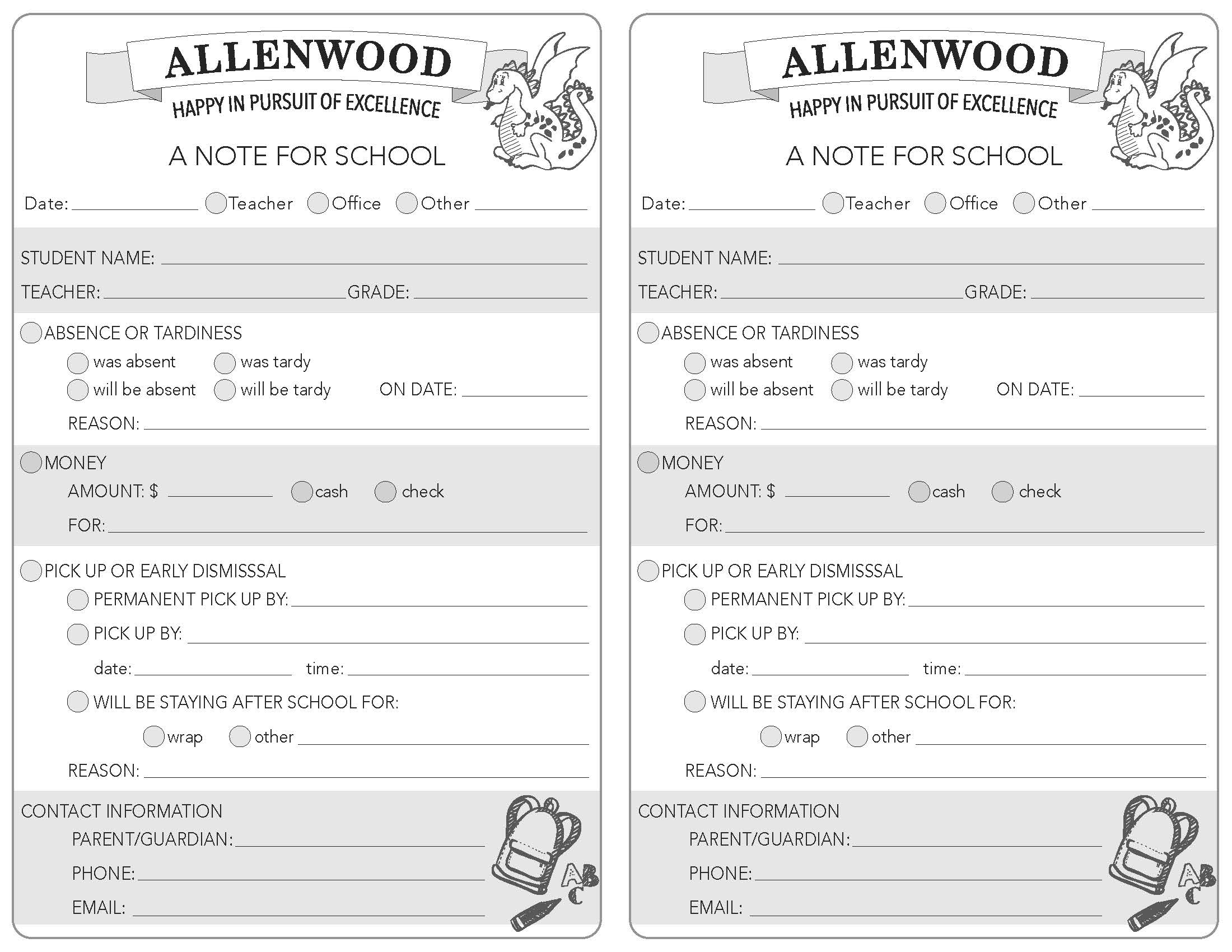 image about Notes Printable referred to as Printable Allenwood University Notes Allenwood Essential PTG