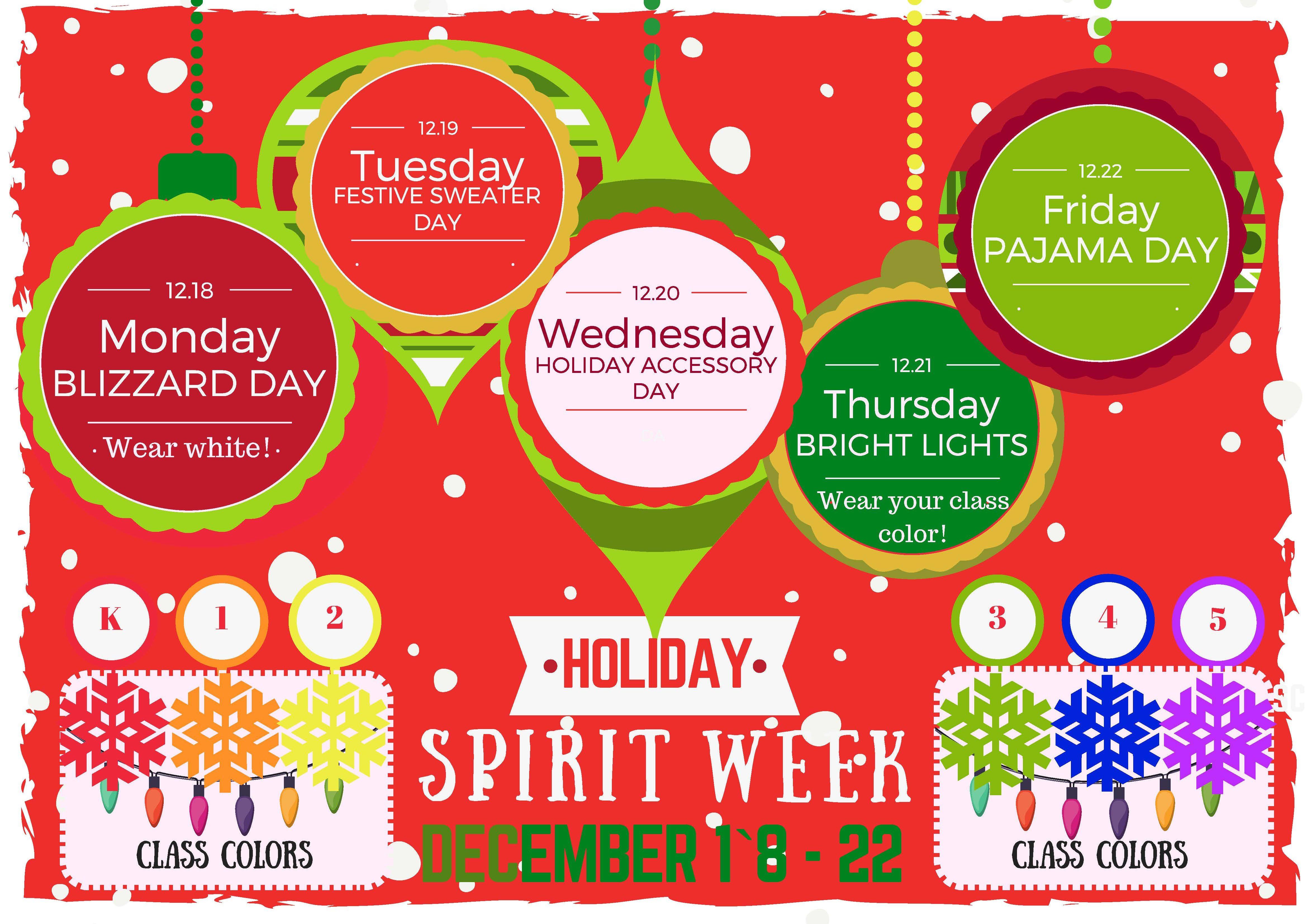 Calendar Dress Up Ideas : Holiday spirit week december allenwood elementary